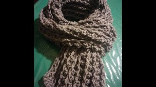 getlinkyoutube.com-Sciarpa uomo all'uncinetto - Crochet scarf for man