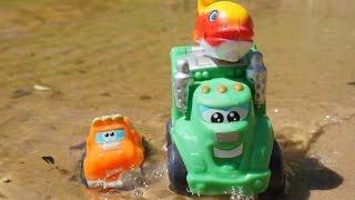 Мультики про машинки: Чак и его друзья!  Рыбалка на озере. Рабочие машины: Мусоровоз