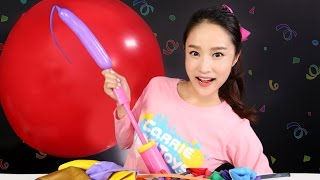 getlinkyoutube.com-캐리의 대왕풍선, 캐릭터풍선 불기 놀이와 요술풍선으로 장난감 칼 만들기  CarrieAndToys