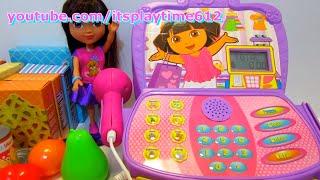 getlinkyoutube.com-Nickelodeon Dora The Explorer Shopping Adventure Cash Register Playset - itsplaytime612