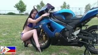 getlinkyoutube.com-Yamaha R1 & Kawasaki NINJA ZX6R - Pretty Girl, Modelling Photo Shoot Video