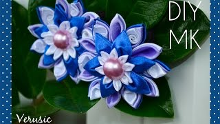 getlinkyoutube.com-Резинка для волос с цветком канзаши из атласных лент/ Scrunchy with flower of satin ribbons kanzashi