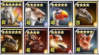 getlinkyoutube.com-All Max Level Cenozoic creatures Vs Mammoth Arena Battle | Jurassic World The Game