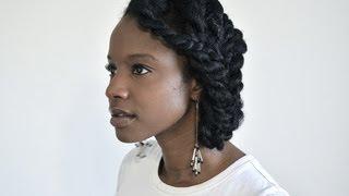 getlinkyoutube.com-Chunky two-strand flat twist protective style updo for natural hair! | Nik Scott