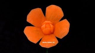 getlinkyoutube.com-Carrot Simple New Flower For Beginners   Lesson 127   Mutita Art Of Fruit Vegetable Carving