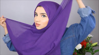 Hijab Styles for Chubby Cheeks | How to create slim face using hijab width=