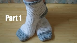 getlinkyoutube.com-(crochet) Pt1: How To Crochet Adult Socks - Yarn Scrap Friday