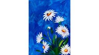 getlinkyoutube.com-Easy DAISY Acrylic painting tutorial with LADYBUG