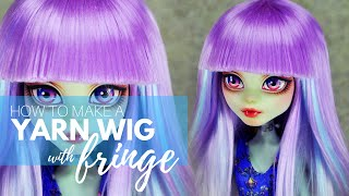 getlinkyoutube.com-How to Make a Yarn Wig with Fringe for Your Dolls
