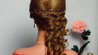 getlinkyoutube.com-Curly  half up half down hair tutorial, hairstyle with braids