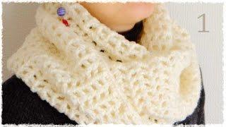 getlinkyoutube.com-シンプル・スヌードの編み方・作り方(1)【100均糸5玉で簡単♪かぎ編みです♪】 diy simple cowl crochet tutorial