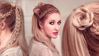 getlinkyoutube.com-High ponytail hairstyles tutorial for long hair: FLOWER + braided goddess UPDO tutorial