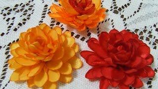 getlinkyoutube.com-Цветы из атласной ленты Цветок из узкой ленты своими руками