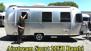 getlinkyoutube.com-Walk Through 2017 Airstream Sport 22FB Bambi Light Weight Tiny Small Camping Travel Trailer