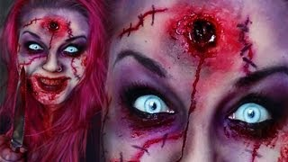 getlinkyoutube.com-Horror Make-Up SCARY CREEPY SCAR ZOMBIE HEADSHOT  TUTORIAL HALLOWEEN / KARNEVAL FX GRUSELIG PSYCHO