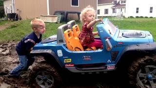 getlinkyoutube.com-Maxx and Lily getting unstuck.              #mudding #power wheels #jeep #hurricane #off road #4x4