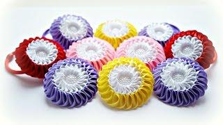 getlinkyoutube.com-Двойная зефирка Канзаши Мастер-класс / Kanzashi Flower Tutorial, DIY