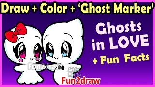 getlinkyoutube.com-How to Draw and Color CUTE Ghost Couple in LOVE - Easy Cartoon Drawings Halloween Fun2draw