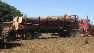 getlinkyoutube.com-Log Truck!! hauling out of the woods. Turbo whisteling at 6:35 nice