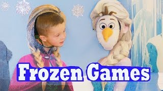 getlinkyoutube.com-FROZEN GAMES & RIDES! Elsa Disney Princess Anna Olaf BIRTHDAY PARTY IDEAS Children's Museum Kids