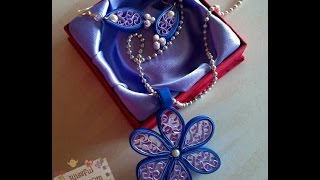 getlinkyoutube.com-DIY - How to make Quilled Paper Necklace and earrings, Easy Beehive Flower tutorial