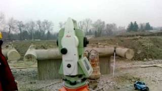 getlinkyoutube.com-Free station with the Leica TCRP1203 total station on a slurry wall construction site