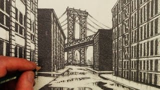 getlinkyoutube.com-How to Draw 1-Point Perspective: A View of Manhattan Bridge