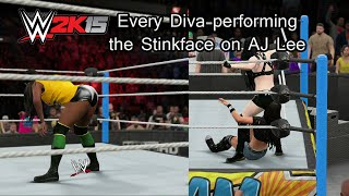 getlinkyoutube.com-WWE 2K15 (PS4) Every Diva (Including Summer Rae As Lana) performing the Stinkface on AJ Lee