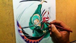 getlinkyoutube.com-Speed Drawing -  Roronoa Zoro ( One Piece )