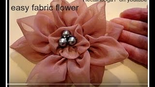 getlinkyoutube.com-COUTURE FLOWER, How to diy, 12 petal flower, fabric flower, accessories,  brooch, headband, barrette