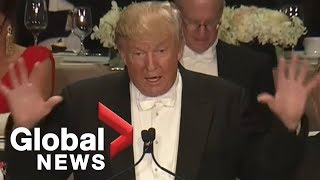 Full monologue: Donald Trump roasts Hillary Clinton at Al Smith charity dinner