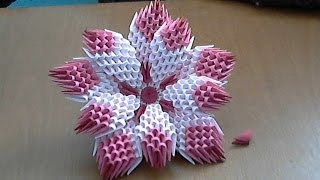 getlinkyoutube.com-How to make 3d origami flower (model1)