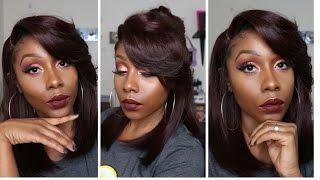 getlinkyoutube.com-💅 Bomb!!!💣 Zury Sis Sister Wig Diva H IRIN pre tweezed part synthetic lace wig 99J