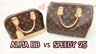 getlinkyoutube.com-What fits inside? Louis Vuitton Alma BB vs Speedy 25 Comparison (Speedy B 25)