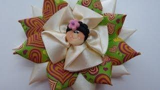 getlinkyoutube.com-flores para el cabello cinta de raso paso a paso. DIY:HAIR FLOWERS