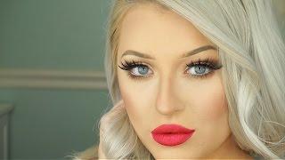 getlinkyoutube.com-Holiday Glam Makeup Tutorial | Bronze Eyes & Red Lips