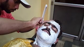 Indian Barber Face Shave - Relaxing ASMR