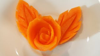 getlinkyoutube.com-Mengukir Bunga dan Daun dari Wortel - Art FRUIT CARVING Carrot Rose and Leaf