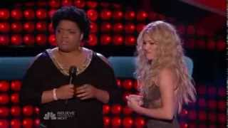 usher and adam levine checking out shakira's ass at the voice blinds