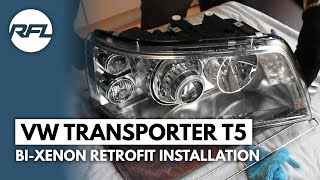 Volkswagen Transporter T5 Bi-xenon projector retrofit headlight tutorial