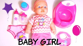 getlinkyoutube.com-ألعاب بنات بيبي بوتي وحفاض و ببرونة تعمل نونو! BAby girl Doll potty