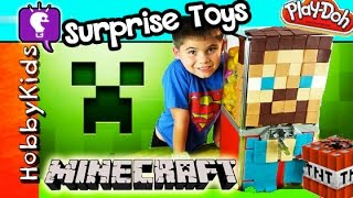 getlinkyoutube.com-Play-Doh MINECRAFT Toy Machine 23 Surprise EGGS! Blind Boxes Kinder Toys by HobbyKidsTV