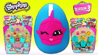 getlinkyoutube.com-SHOPKINS SEASON 3 GIANT PLAY DOH SURPRISE EGG SHOPKINS SEASON 3 12 PACK AND 5 PACK OPENING