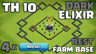 getlinkyoutube.com-Clash of Clans TH10 Farming Base (Dark Elixir Base) 2016 + 4 x Replays