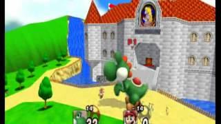 getlinkyoutube.com-SSBB: Growing Yoshi vs Mario FFA (At Peach's Castle)