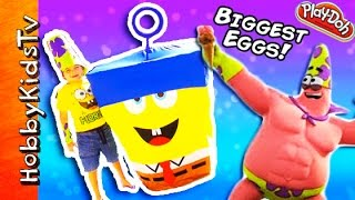 getlinkyoutube.com-Worlds BIGGEST InvinciBubble SpongeBob + Mr SuperAwesomeness! Play-Doh Sandy by HobbyKidsTV