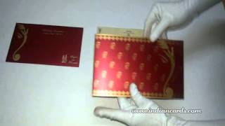 [W-5364, Maroon Color, Shimmer Paper, Handmade Wedding Invita...]