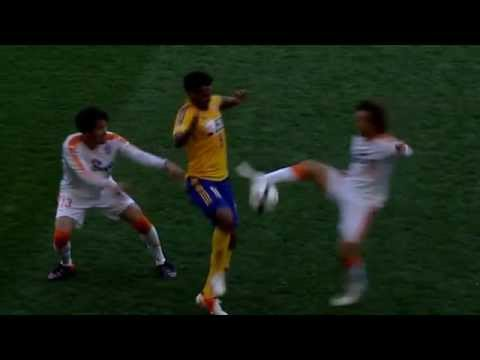Ouch! Player gets kicked right in the groin