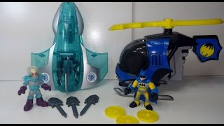 getlinkyoutube.com-Imaginext D.C Super Friends Batman's Batcopter & Mr. Freeze Jet