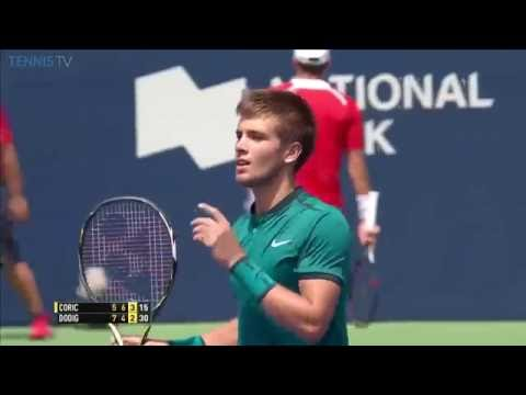 Coric lunges to hit brilliant volley at 2016 Rogers Cup
